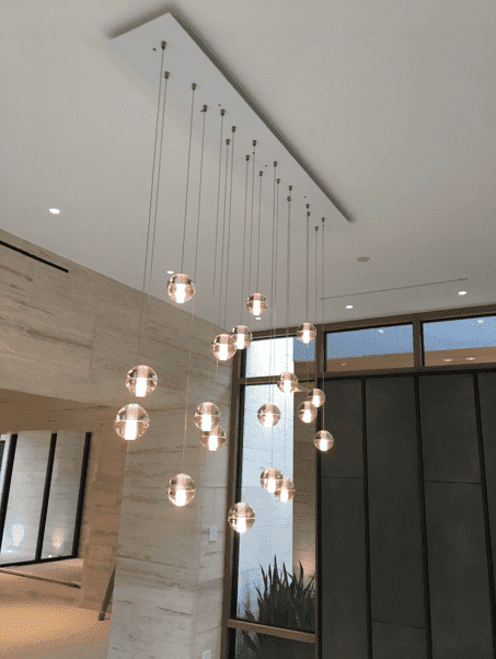 Hanging lights in house entryway